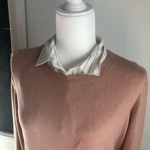 Mock sweater with blouse layer